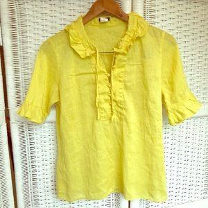 J Crew Alessia ruffle sleeve blouse - yellow - 6